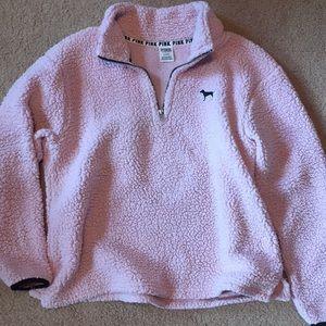 pink fluffy quarter zip! victoria secret/PINK
